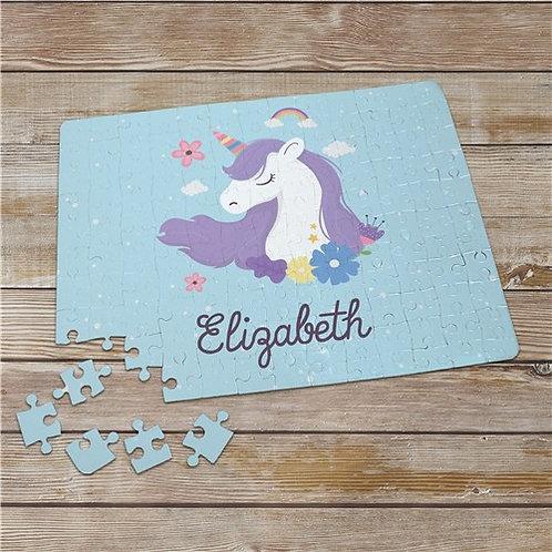Unicorn Little Girl Personalized Rainbow Jigsaw Puzzle