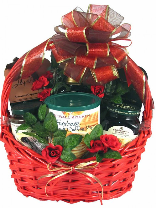 A Stonewall Kitchens Gift Basket filled with Country Breakfast
