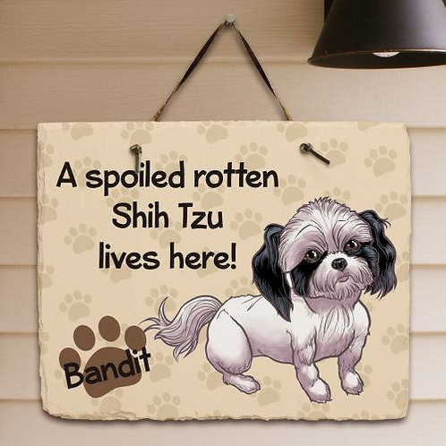 Spoiled Rotten Dog Breed Shih Tzu Slate Plaque