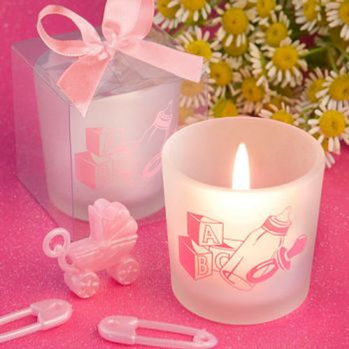 Baby Girl Themed Pink Candle Favors