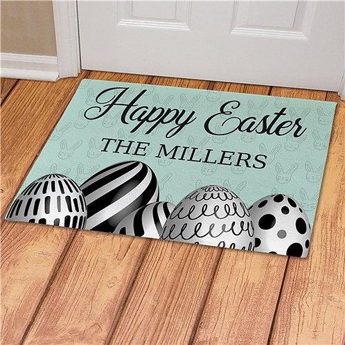 Happy Easter Eggs Personalized Doormat