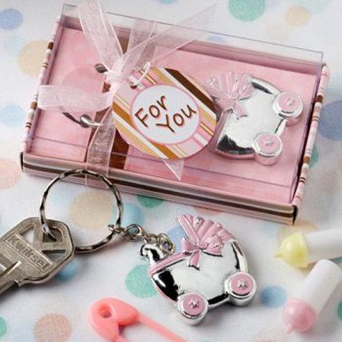 Pink Baby Carriage Design Keychain