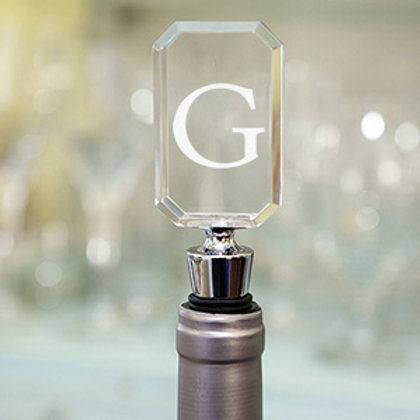 Acrylic Bottle Stopper with Block Initial