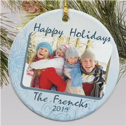 Ceramic Happy Holidays Photo Ornament