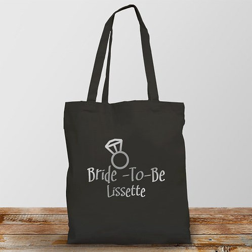 Bride-to-Be Personalized Black Tote Bag