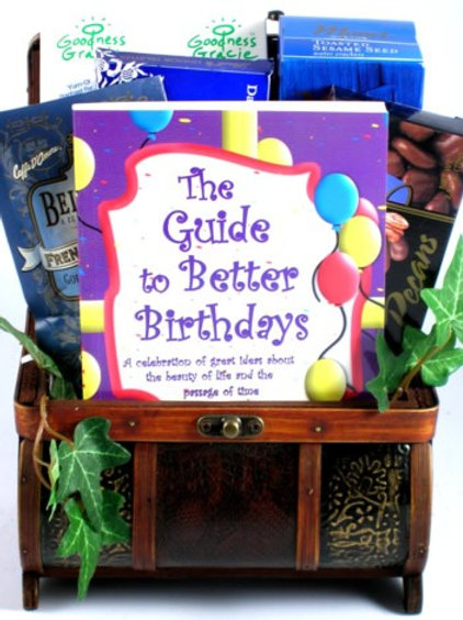 Birthday Wooden Trunk Gift Basket Filled with Gourmet Goodies