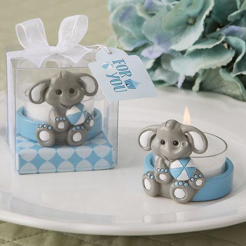 Baby Elephant Blue Design Tea Light Holder Favor