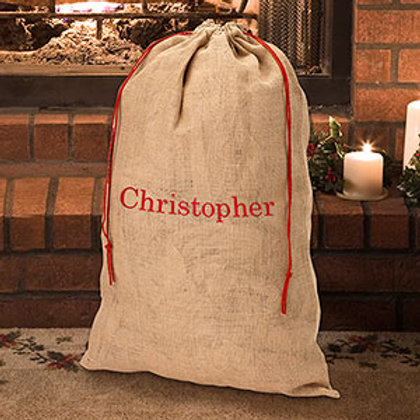 Embroidered Burlap Gift Sack