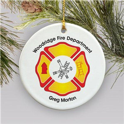 Ceramic Personalized Fire Department Christmas Ornament
