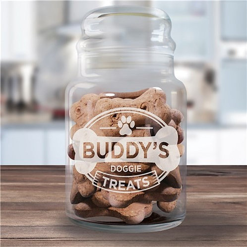 Dog Treats Glass Jar Engraved with Dogs Name