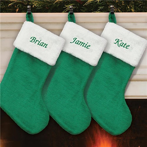 Personalized Red or Green Velvet Christmas Stocking