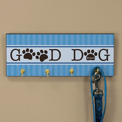 Good Dog Personalized Leash Holder with Dog Paw Prints
