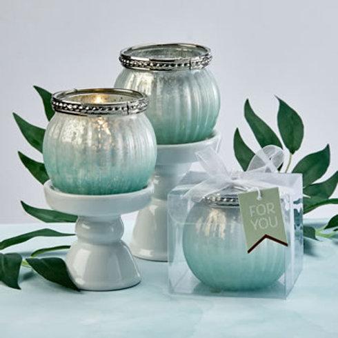 Mint Green Ombre Vintage Mercury Glass Votive Candle Holder (Minimum Qty 24)