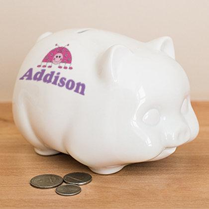 Ceramic Ladybug Personalized Piggy Bank