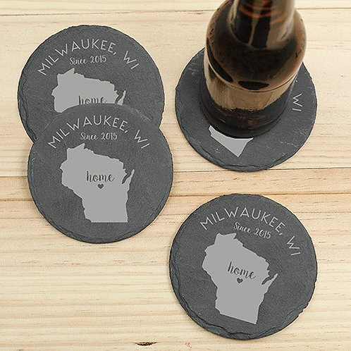 Home State Personalized Set of 4 Coasters made of Slate