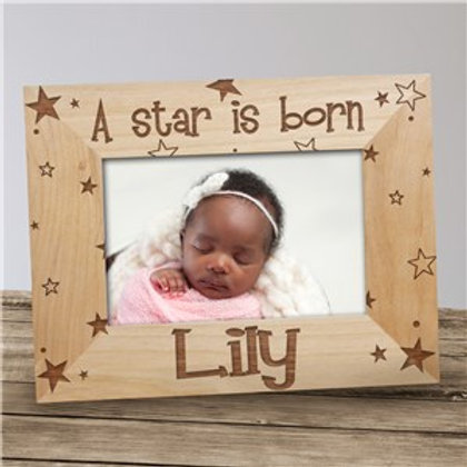A Star is Born New Baby Personalized Wood Picture Frame