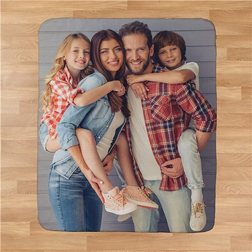 Family Photo 50 x 60 Personalized Sherpa Blanket