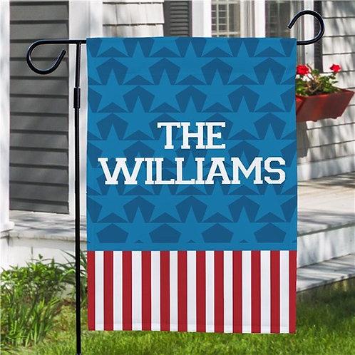 Patriotic Personalized Family Name Garden Flag