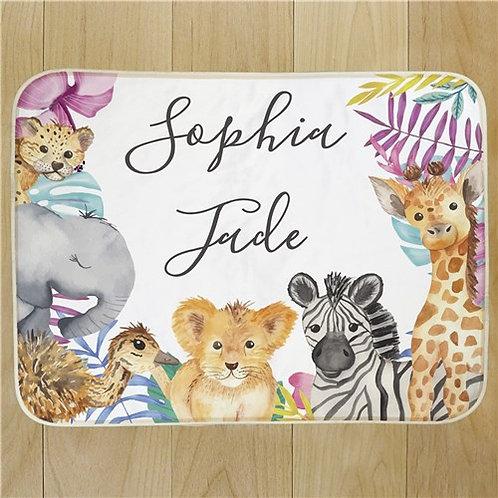Wild Animal Personalized Baby Girl Sherpa Blanket