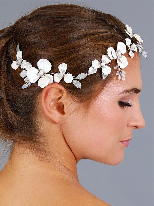 Floral Design Bridal Hair Vine with Ivory Metal Flowers