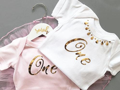 1st Birthday Baby Size 12-18 Months Pink or White Onesie