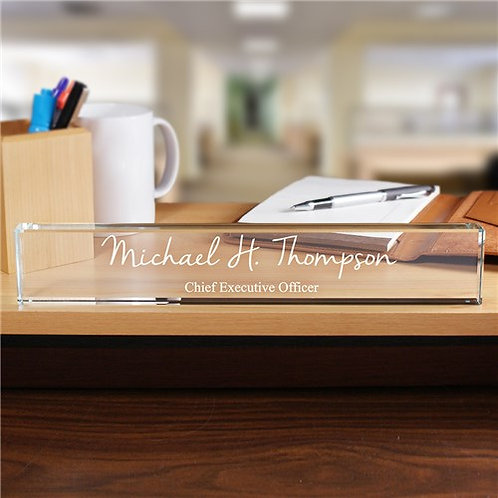 "Business Crystal Clear 12"" Engraved Name Plate"""
