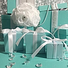 Multiple Aqua Gift Boxes with Clear Beads
