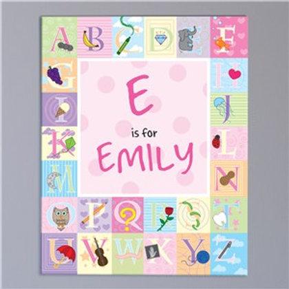 Alphabet girl canvas
