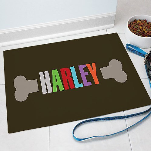 Personalized Dog Bone Pet Mat with Your Dogs Name