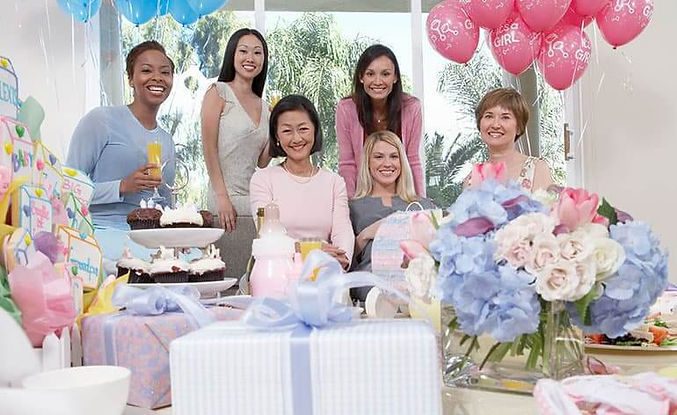Baby Shower Gathering with Flower Boxes