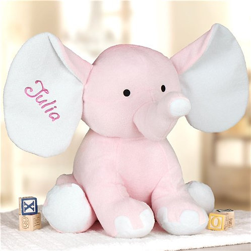 "Embroidered 13"" Pink Elephant for a Baby"
