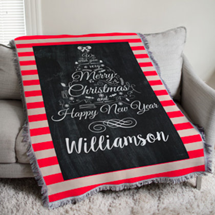 Chalkboard Christmas Tree Tapestry Throw