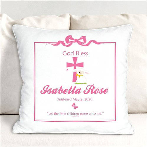 Pink God Bless Christening Personalized Throw Pillow