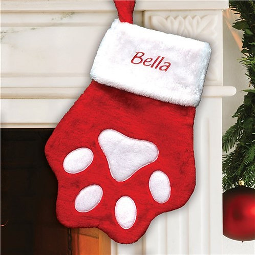Embroidered Red Paw Print Christmas Stocking