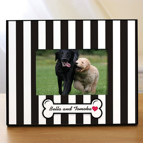 Black and White Striped Doggity Dog Personalized Picture Frame