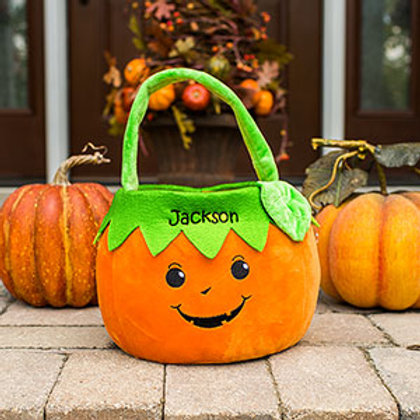Embroidered Boy Pumpkin Trick or Treat Basket