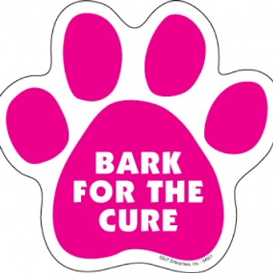 Bark for the Cure Paw Print Car Magnet