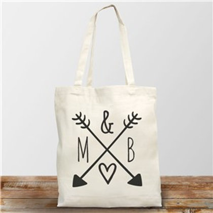 Arrows & Initials Canvas Tote