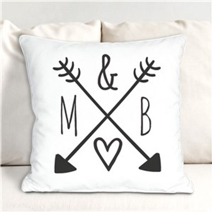 Arrows and Initials Throw Pillow