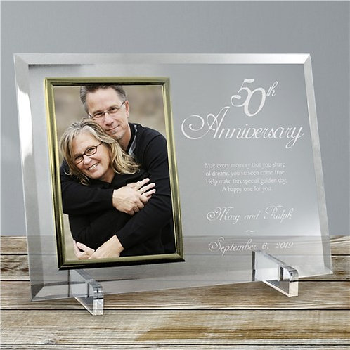 50th Anniversary Beveled Glass Picture Frame