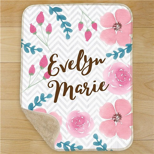 Watercolor Floral Personalized Girl Baby Sherpa Blanket