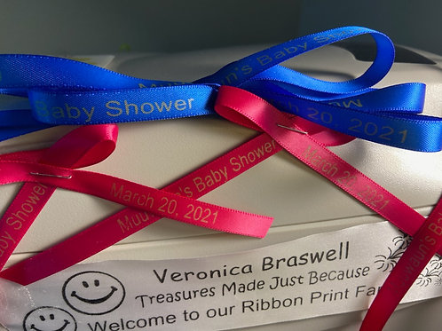 """Personalized 3/8"""" Satin Ribbons for Party Favors"""
