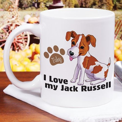 Personalized I Love My Dog Breed Jack Russell Mug