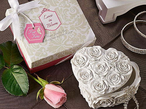 Love in Bloom Heart Jewelry and Trinket Box Favor