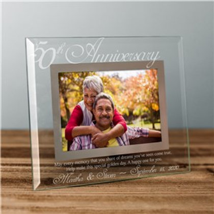 Glass 50th Anniversary Personalized Picture Frame