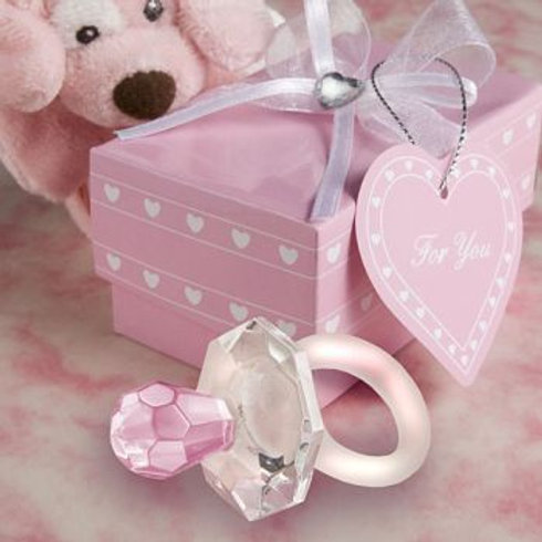 Crystal Pink Baby Pacifier Favor