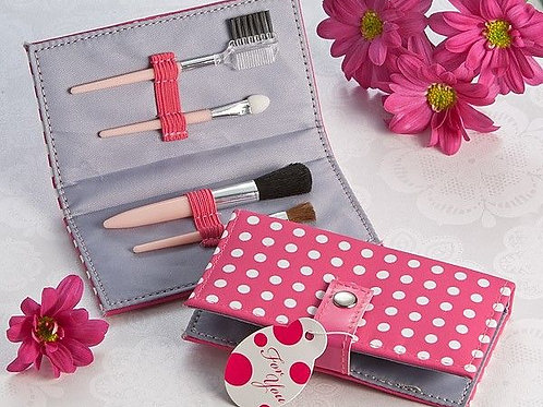 Pretty in Pink Polka Dot Makeup Brush Kit Favor