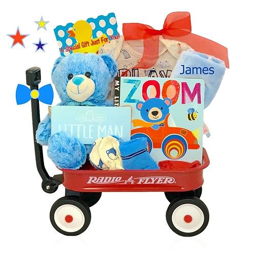 Zoom Zoom Baby Boy Wagon Gift Basket