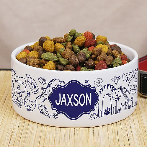 Cat Lover Pet Bowl Personalized