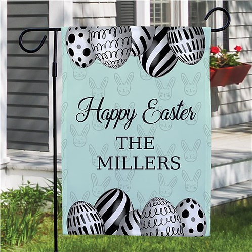 Happy Easter Eggs Personalized Garden Flag